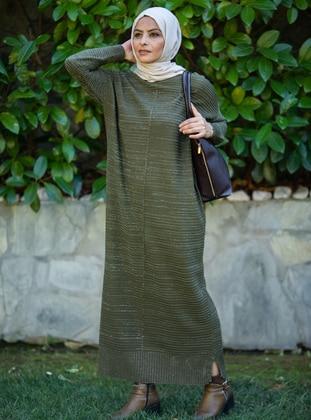Khaki - Crew neck - Acrylic - - Knit Dresses