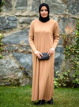 Camel - Crew neck - Acrylic -  - Knit Dresses