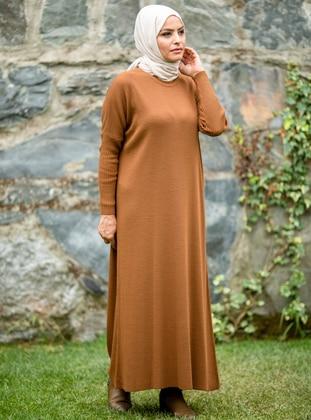 Tan - Crew neck - Acrylic -  - Knit Dresses