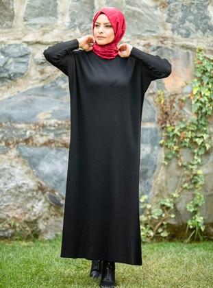 Black - Crew neck - Acrylic -  - Knit Dresses - MODANUR
