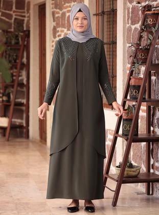 Khaki - Unlined - Crew neck - Muslim Plus Size Evening Dress
