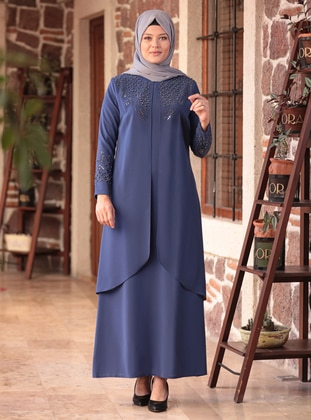 Indigo - Blue - Crew neck - Muslim Plus Size Evening Dress - Amine Hüma
