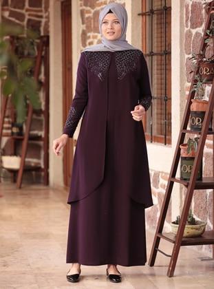Purple - Unlined - Crew neck - Muslim Plus Size Evening Dress