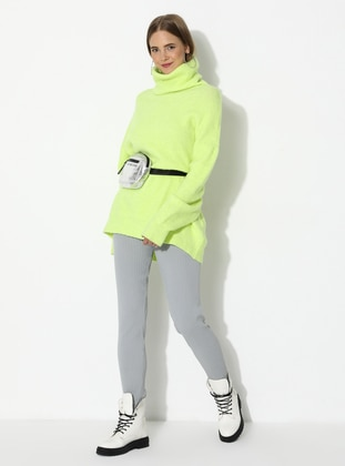 Gray - Acrylic -  - Knit Pants