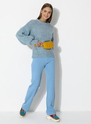 Blue - Acrylic -  - Knit Pants