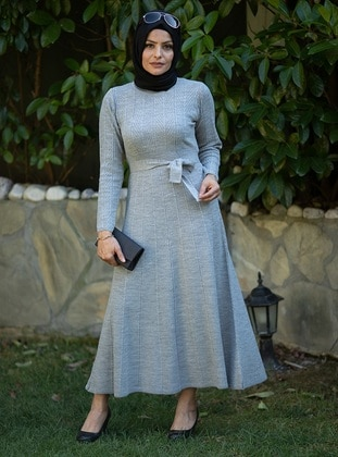Gray - Unlined - Crew neck - Acrylic -  - Knit Dresses