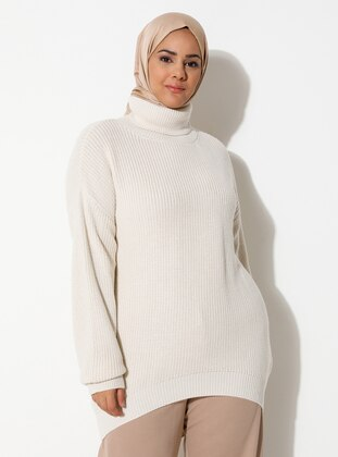 Ecru - Acrylic -  -  - Polo neck - Plus Size Knit Tunics