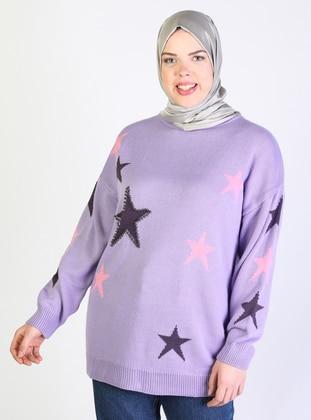 Lilac - Acrylic -  - Crew neck - Plus Size Knit Tunics