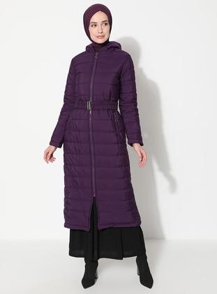 Plum - Fully Lined - Coat - Miss Cazibe