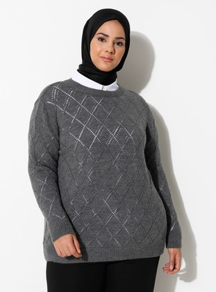 Anthracite - Acrylic -  -  - Crew neck - Plus Size Knit Tunics