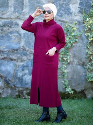 Maroon - Unlined - Polo neck - Acrylic -  - Knit Dresses