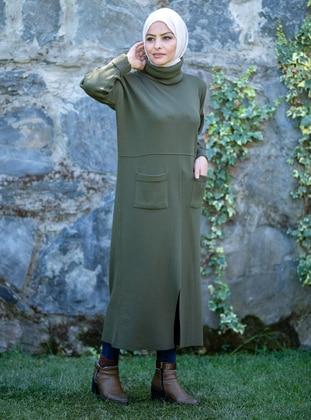 Khaki - Unlined - Polo neck - Acrylic -  - Knit Dresses