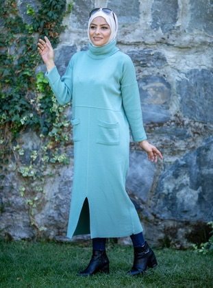 Mint - Unlined - Polo neck - Acrylic - - Knit Dresses