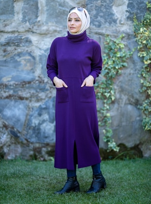 Purple - Unlined - Polo neck - Acrylic - - Knit Dresses
