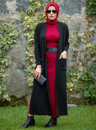 Black - Acrylic -  - Knit Cardigans - MODA NUR SEDA