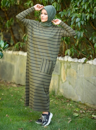 Khaki - Stripe - Unlined - Crew neck - Acrylic - - Knit Dresses