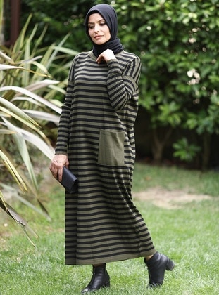 Khaki - Black - Stripe - Crew neck - Acrylic -  - Knit Dresses