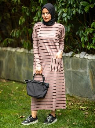 Powder - Stripe - Unlined - Crew neck - Acrylic -  - Knit Dresses