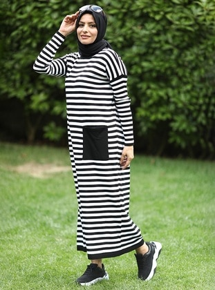 White - Black - Stripe - Crew neck - Acrylic -  - Knit Dresses