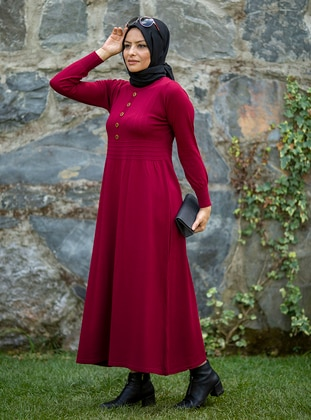 Maroon - Unlined - Crew neck - Acrylic -  - Knit Dresses