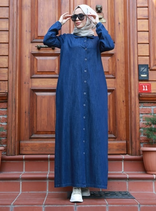 Navy Blue - Round Collar - Unlined - Denim -  - Plus Size Abaya