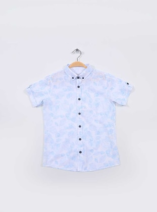 Floral - Point Collar -  - Blue - Boys` Shirt