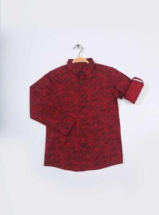 Tropical - Point Collar -  - Maroon - Boys` Shirt