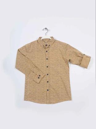 Stripe - Point Collar -  - Camel - Boys` Shirt