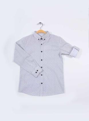 Polka Dot - Point Collar -  - Gray - Boys` Shirt