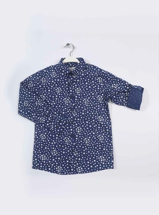 Geometric - Point Collar -  - Indigo - Boys` Shirt
