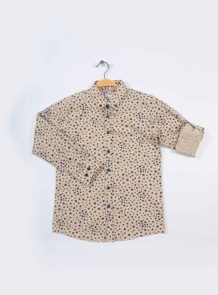 Geometric - Point Collar -  - Cream - Boys` Shirt