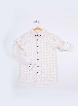 Polka Dot - Point Collar -  - Cream - Boys` Shirt