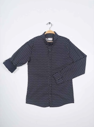 Point Collar -  - Unlined - Navy Blue - Boys` Shirt - Tommy Life