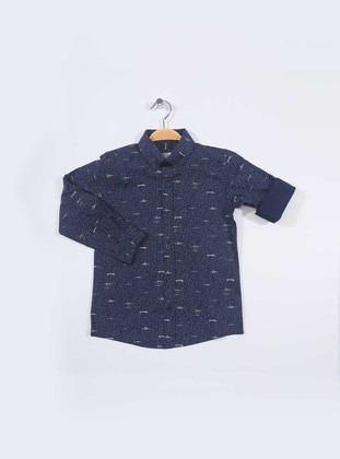 Multi - Point Collar -  - Navy Blue - Boys` Shirt