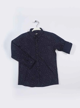 Geometric - Point Collar -  - Gray - Navy Blue - Boys` Shirt