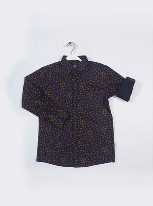 Geometric - Point Collar -  - Navy Blue - Yellow - Boys` Shirt