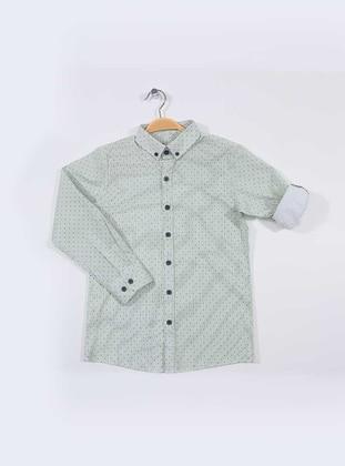 Polka Dot - Point Collar -  - Green - Boys` Shirt