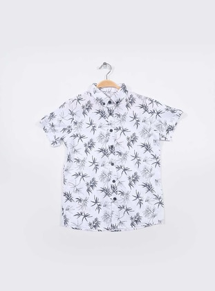 Multi - Point Collar -  - Unlined - White - Navy Blue - Boys` Shirt