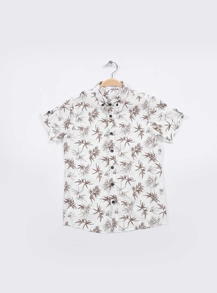 Multi - Point Collar -  - Unlined - White - Tan - Boys` Shirt