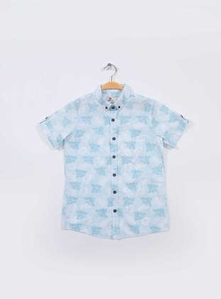 Multi - Point Collar -  - Unlined - Blue - Boys` Shirt