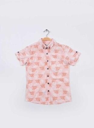 Multi - Point Collar -  - Unlined - Orange - Boys` Shirt