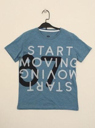 Multi - Crew neck -  - Unlined - Blue - Boys` T-Shirt