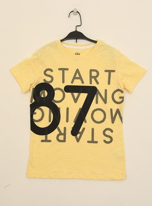 Multi - Crew neck -  - Unlined - Yellow - Boys` T-Shirt