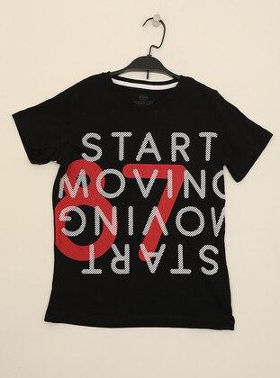 Multi - Crew neck -  - Unlined - Black - Boys` T-Shirt