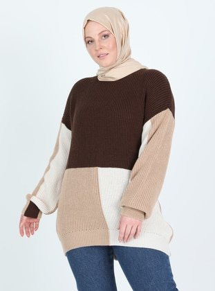 Brown - Crew neck - Plus Size Knit Tunics