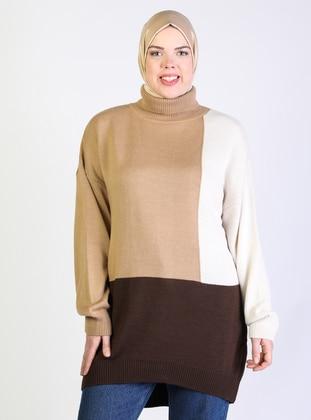 Brown - Polo neck - Plus Size Knit Tunics