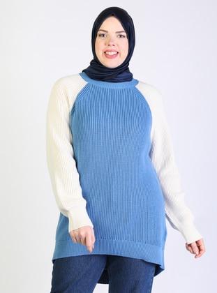 Blue - Acrylic -  -  - Crew neck - Plus Size Knit Tunics