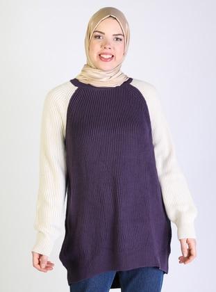 Purple - Acrylic -  -  - Crew neck - Plus Size Knit Tunics