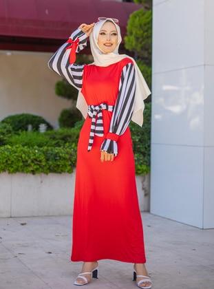 Red - Stripe - Crew neck - Unlined - Viscose - Dress