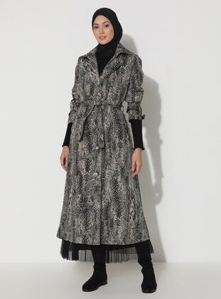 Khaki - Black - Leopard - Unlined - V neck Collar - Trench Coat